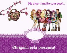 "Kit Personalizados Tema ""Ever After High"" para Imprimir - Convites Digitais Simples"