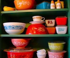 Pyrex dishes.  Love all the colors.