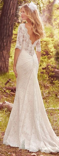 Maggie Sottero - MCKENZIE Lace Fit-and-Flare Wedding Gown. There are few things more romantic than vintage lace in an effortless silhouette, e. a long-sleeve fit-and-flare wedding gown fit for all-night dance parties and destination adventures. Perfect Wedding Dress, Dream Wedding Dresses, Bridal Dresses, Wedding Gowns, Wedding Ceremony, Wedding Venues, Lace Dresses, Wedding Lace, Backless Wedding