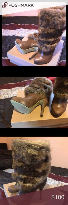 Sexy boots Sexy furs... worn once! 🎁free gift with bundle purchase🎁 Shoes Heeled Boots