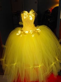 """Beauty and the Beast inspired """"Belle"""" lemon yellow tutu dress with removeable bows..:)"""