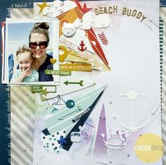 Beach Buddy, by Ashli Oliver using the Let's Go Collection from www.cocoadaisy.com  #cocoadaisy #scrapbooking #kitclub #layout #stamping #cutiles #watercolors #colorwheel #planner