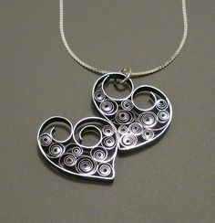 Quilled Two Hearts As One Necklace - one of 5 giveaway prizes to celebrate All Things Paper 5th Blogiversary!