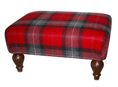 """Red & black tartan wool footstool, measuring 18"""" x 24"""". Available to order £210, delivered nationwide."""