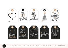Vánoční visačky, jmenovky, ZDARMA  ke stažení !!!! Christmas tags in Czech, FREE printable & download. Christmas Presents, Christmas Diy, Present Gift, Free Printables, Scrap, Lettering, Advent, Winter, Cards