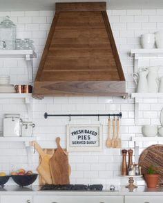 wood vent hoods white kitchen with wood range hood wood kitchen vent hoods Kitchen Redo, New Kitchen, Kitchen Cabinets, White Cabinets, Kitchen Ideas, Upper Cabinets, Wooden Kitchen, Kitchen Backsplash, Kitchen Interior