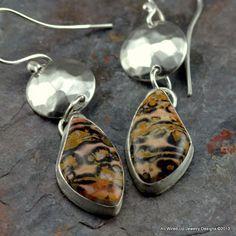 Leopardskin Jasper Earrings  Sterling Jasper Earrings  by PPennee, $89.00