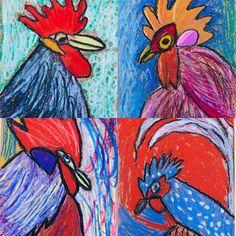 """I say, I say, I say...I love student art"" #foghornleghorn #oilpastel #rooster #onedaylesson #ipulledaroosteroutofmyhat #artisimportant #artlove #studentart #impressionism"