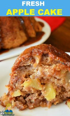 Are you looking for an amazing fresh apple cake to help celebrate fall?  This Fresh Apple Cake is a copy cat recipe from The Apple Barn Restaurant in Sevierville, Tennessee. It is super moist, full of flavor and apples, and fabulous!   #apple #applecake #fall #cake #dessert #desserts