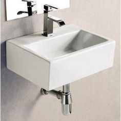 Elanti Wall-Mounted Rectangle Bathroom Sink in White-EC9859 at The Home Depot