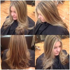 Cool tone blonde Highlights and chocolate lowlights with long layered haircut