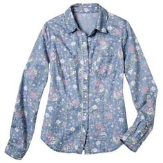 a32b14568c Mossimo Supply Co. Juniors Printed Denim Top - Rose Pink Denim Shirts