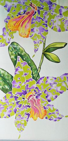 Etsy の 6.Hand painted silk scarf Green-purple orchids. by RalyART