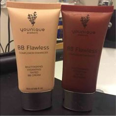 Younique BB flawless - RESERVED Perfect colors for highlighting and contouring! The darker color (chestnut, for contouring) is basically full. The lighter (cream, for highlighting) is half full, maybe a little more. I've just decided to use powder to highlight and contour. These are over $30 a bottle! Younique Makeup Foundation