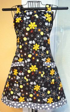 Flower Power with Polka Dots Ladies Apron by SpicyAprons on Etsy, $34.99