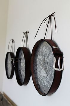 Confessions of a New / Old Home Owner: DIY Leather Mirror Trio