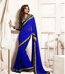Buy Royal Blue Bember Georgette Designer Saree With Blouse party-wear-saree online