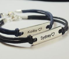 SET2, Couples bracelet, custom matching bracelet, navy blue black leather, engraved bracelet high quality, couple bracelets jewelry gift