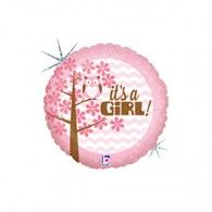 45cm It's A Girl! Owl Holographic $9.95 (filled with Helium in store) H36156