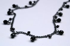 Black and Gray Sparkle Faceted Bead Long Necklace by SCBeads