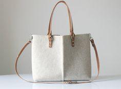 Leather Tote Bag Handmade Bag Felt Bag Felt and Leather by Lefrac