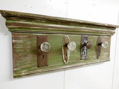Architectural Salvage Coat Rack, Rustic Coat Rack, Antique Glass Door Knob Coat Rack, Up-Cycled Coat Rack, Re-purposed Coat Rack by LynxCreekDesigns on Etsy Vintage Door Knobs, Antique Door Knobs, Glass Door Knobs, Vintage Doors, Antique Doors, Rustic Coat Rack, Vintage Coat Rack, Architectural Salvage, Architectural Models