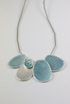 Contemporary silver and enamel jewellery. Coastal inspired silver and enamel jewellery. Porcelain Jewelry, Ceramic Jewelry, Enamel Jewelry, Ceramic Beads, Clay Jewelry, Metal Jewelry, Jewelry Art, Sterling Silver Jewelry, Jewelry Accessories
