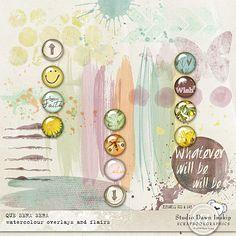 Que Sera Sera Watercolour Overlays and Flairs by #dawninskip #scrapbookgraphics #artjournal #spring #scrapbooking #scrapbook #design #create #handmade #watercolour #overlays #flairs #queserasera