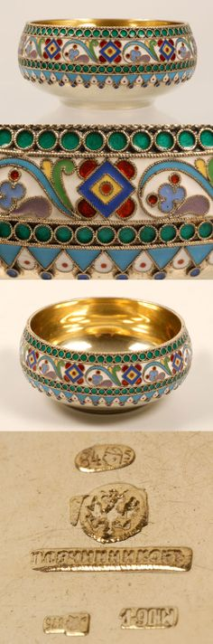 A Russian silvergilt and cloisonne enamel bowl, Pavel Ovchinnikov,Moscow, circa 1896-1908. The bowl decorated with a multi-color scroll and geometric band against a whote ground between rows of green enamel beads above a geometric border in turquoise, white and blue enamel.