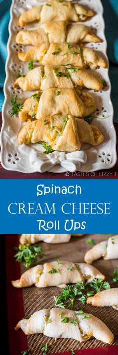Crescent rolls stuffed with spinach, cheddar and cream cheese make a quick appetizer or lunch. Spinach Cream Cheese Roll Ups are fun for the family! #WarmTraditions AD @Pillsbury
