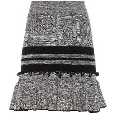 Alexander McQueen Wool and Silk Knitted Skirt ($710) ❤ liked on Polyvore featuring skirts, black, short, woolen skirt, silk skirt, wool skirt, short skirts and alexander mcqueen