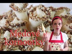 Medové kornoutky Christmas Cookies, Biscuits, Cereal, Stuffed Mushrooms, Vegetables, Breakfast, Cake, Food, Xmas Cookies