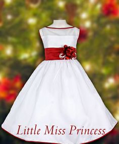 White and Red Girls Girls Christmas Dress with Red Trim