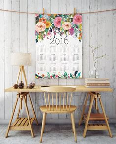 Floral printable calendar 2016 room decor by TwoBrushesDesigns #calendars