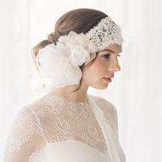 Sample sale, 1920s bridal headband, Lace Bridal Headband, Style Buttercup 1886