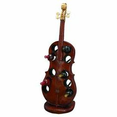 """10-bottle wine rack with a cello silhouette.  Product: Wine rackConstruction Material: PolystoneColor: BrownFeatures: Holds up to 10 bottles of wineDimensions: 48"""" H x 17"""" W x 12"""" D"""