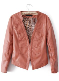 Red Long Sleeve Leopard Lining PU Leather Jacket EUR€24.34