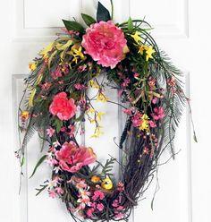 Valentine Grapevine Wreath, Spring Summer, Mothers Day, Bird Nest, Pink Yellow, Green, Valentine's Gift