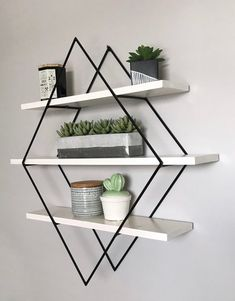 Modern, stylish and functional, add this unique piece to your home decor! This listing is for a Custom finished Diamond Shelf. Choose your own frame finish and plank finish in the drop down options above when checking out. Frame Options: Black White Silver Gold Copper Charcoal Grey