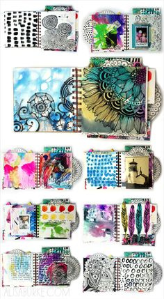 ART JOURNAL PAGES [INSPO] _ _ _ Travel journal pages and scrapbook inspiration - ideas for travel journaling, art journaling, and scrapbooking. Art Journal Pages, Art Journals, Journal Ideas, Visual Journals, Art Journal Prompts, Kunstjournal Inspiration, Sketchbook Inspiration, Sketchbook Ideas, Altered Books