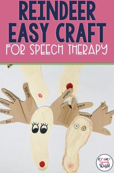 Easy reindeer craft for speech therapy Articulation Therapy, Articulation Activities, Speech Therapy Activities, Speech Language Pathology, Speech And Language, Holiday Activities, Preschool Activities, Christmas Speech Therapy, The Napping House