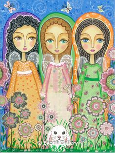 Folk Art Painting, Three Beautiful Angels, Print Mixed Media, Wall Decore b Illustrations, Illustration Art, I Believe In Angels, Angels Among Us, Arte Popular, Naive Art, Angel Art, Whimsical Art, Folk Art