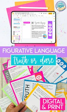 This figurative language activity is fun for middle and high school students in both face-to-face and remote learning settings! Figurative Language Truth or Dare has four different levels so that students can work through the prompts as they are ready. Use as whole class or small group activities. Also fun as a distance learning bell ringer! #FigurativeLanguage #EngagingELA #MiddleSchool #HighSchool Middle School Ela, Middle School English, Language Activities, Group Activities, Figurative Language Activity, Truth And Dare, Poetry Lessons, Curriculum Mapping, Teaching Poetry