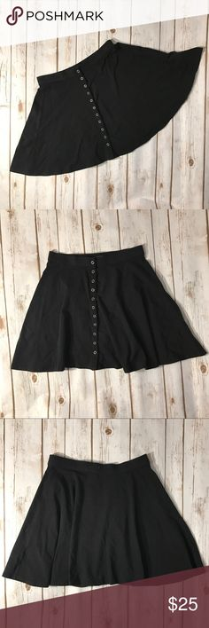 """Kimchi Blue Black Skater Boy Mini Skirt Kimchi Blue black skater boy mini skirt with front buttons closure. No rips or stains. In great condition. Size medium. Measurements for flat lay: waist (26"""") length (15"""") Kimchi Blue Skirts Circle & Skater"""
