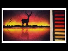soft pastels painting tutorial of reflection of deer for beginners - YouTube