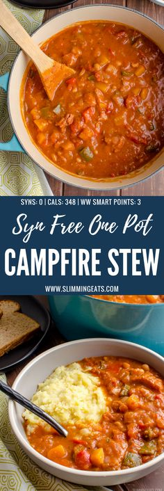 Dig into a spicy hearty warming bowl of Syn Free One Pot Campfire Stew with delicious Southern Flavours - my take on a popular Slimming World Recipe. Gluten Free, Dairy Free, Slimming World and Weight Watchers friendly | www.slimmingeats.com