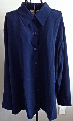 Susan Graver Style QVC  Blouse Top Shirt Navy Blue Button Down Plus Size 2X #SusanGraver #Blouse