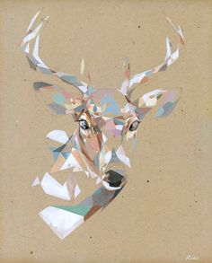 Artist Rico Blanco combines his two passions—painting and illustration—into… Art And Illustration, Hirsch Illustration, Illustrations, Geometric Deer, Geometric Shapes, Geometric Flower, Deer Print, Giclee Print, Graphic Art
