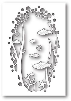 Memory Box Under The Sea Collage Die. Craft die from Memory Box featuring an oval filled with fish.  <br>  2.5 x 4 inches<br>  6.4 x 10.2 centimeters