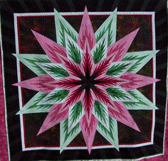 Feathered Star, Quiltworx.com, Made by Gail, Quilted by Sculptured Thread Quilting